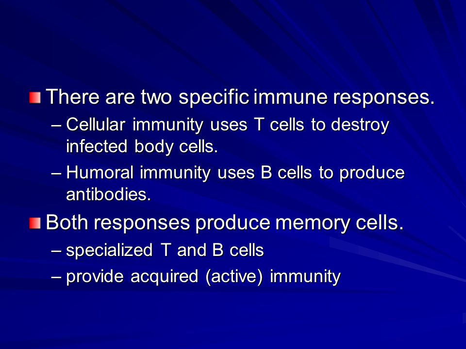 There are two specific immune responses.