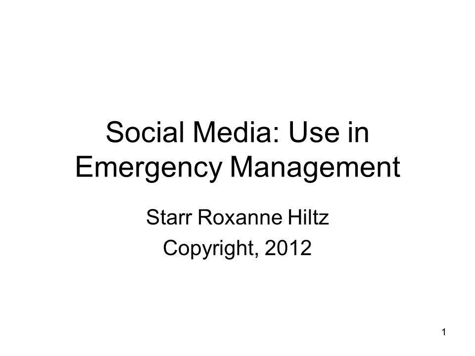 Social Media: Use in Emergency Management