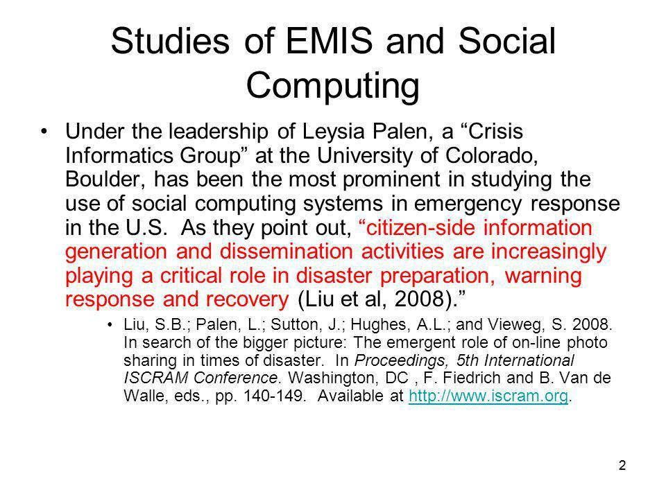 Studies of EMIS and Social Computing