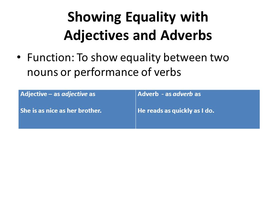 Showing Equality with Adjectives and Adverbs