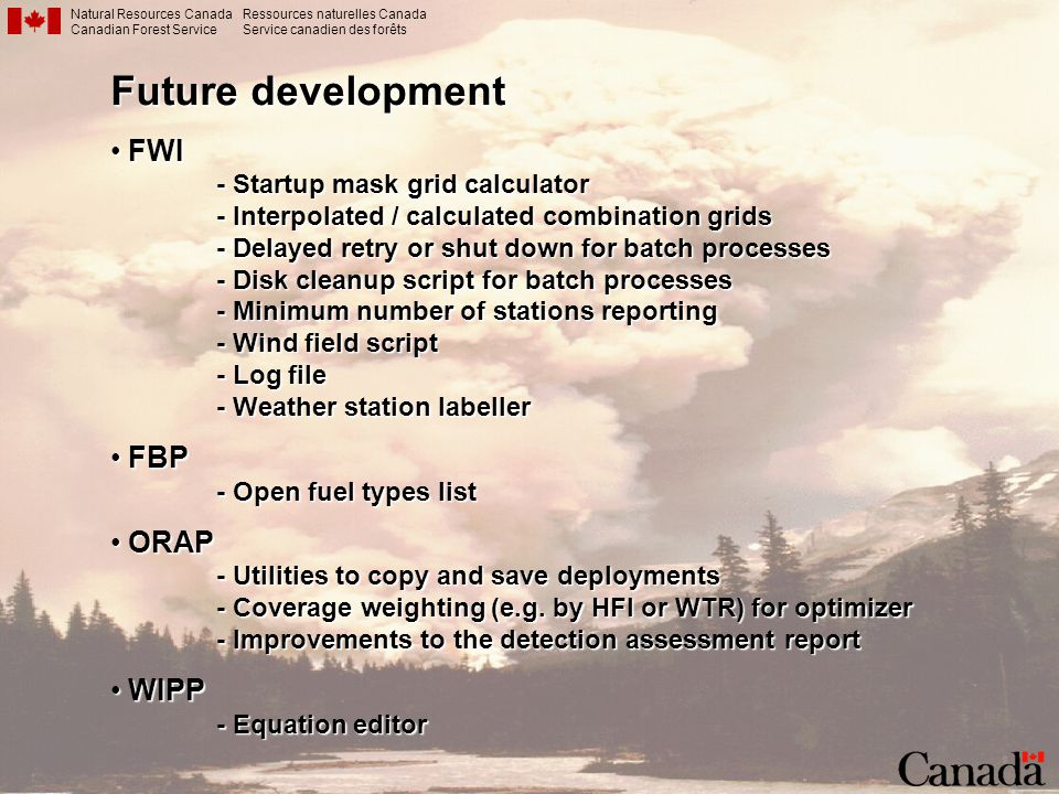 Future development FWI FBP ORAP WIPP - Startup mask grid calculator