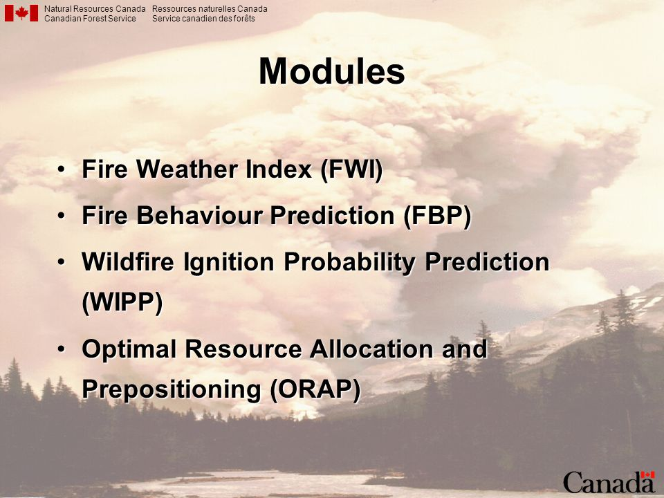 Modules Fire Weather Index (FWI) Fire Behaviour Prediction (FBP)