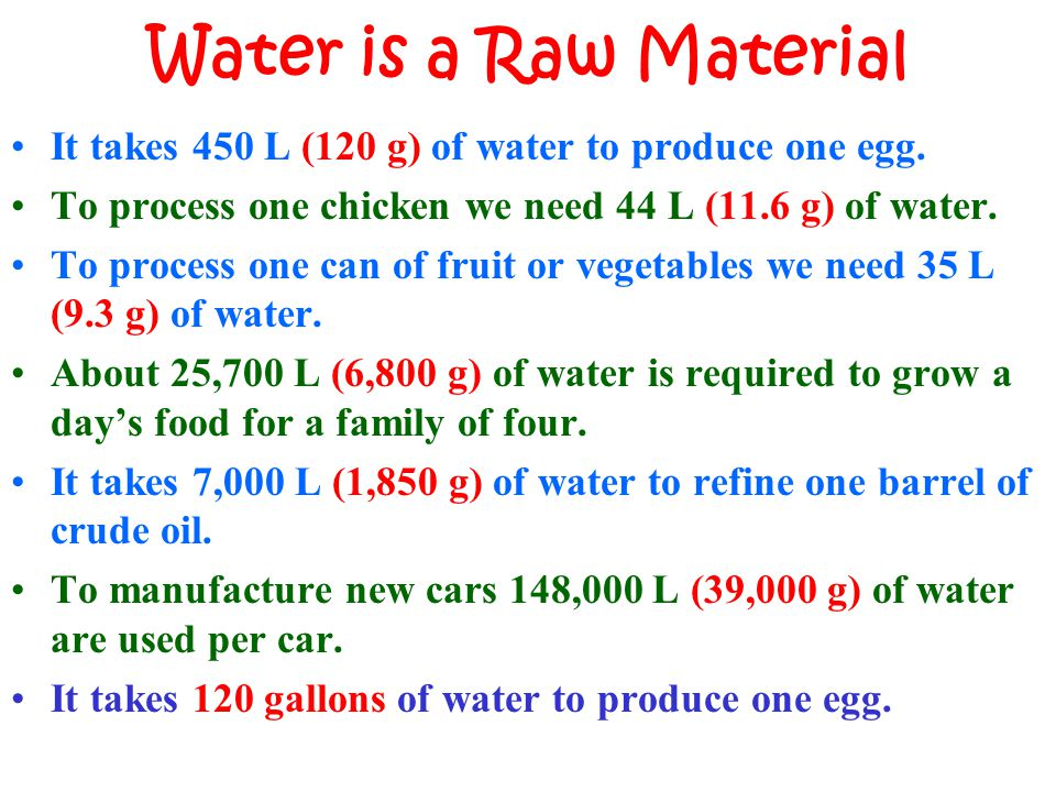 Water is a Raw Material It takes 450 L (120 g) of water to produce one egg. To process one chicken we need 44 L (11.6 g) of water.