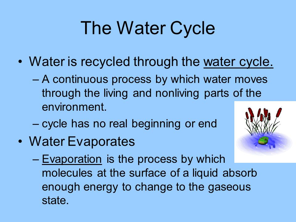 The Water Cycle Water is recycled through the water cycle.