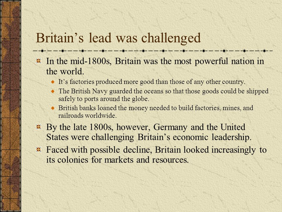Britain's lead was challenged