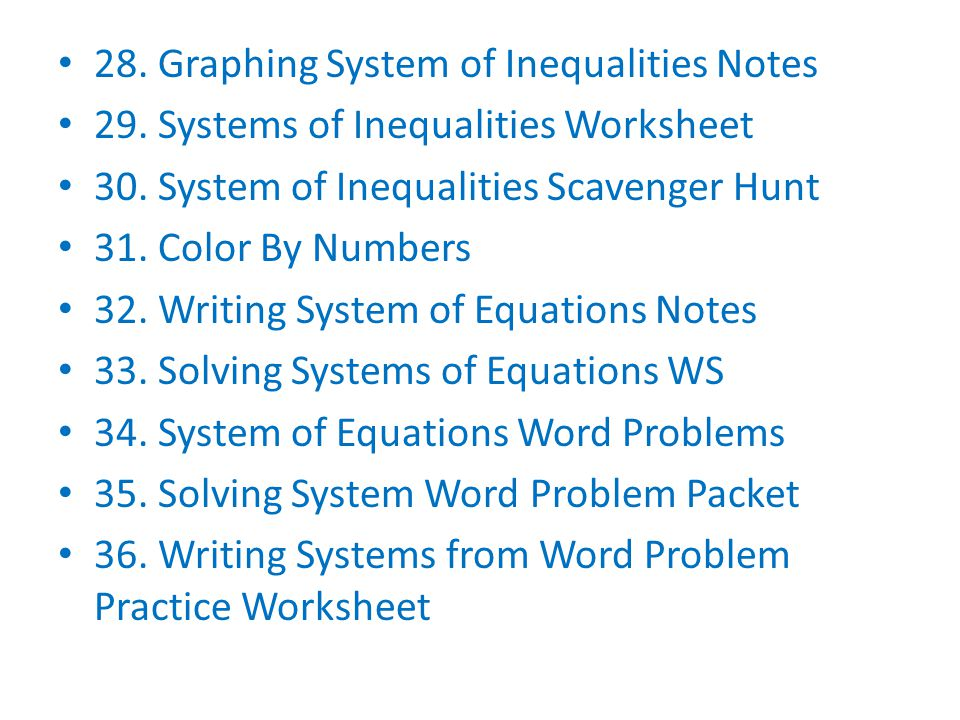 28. Graphing System of Inequalities Notes