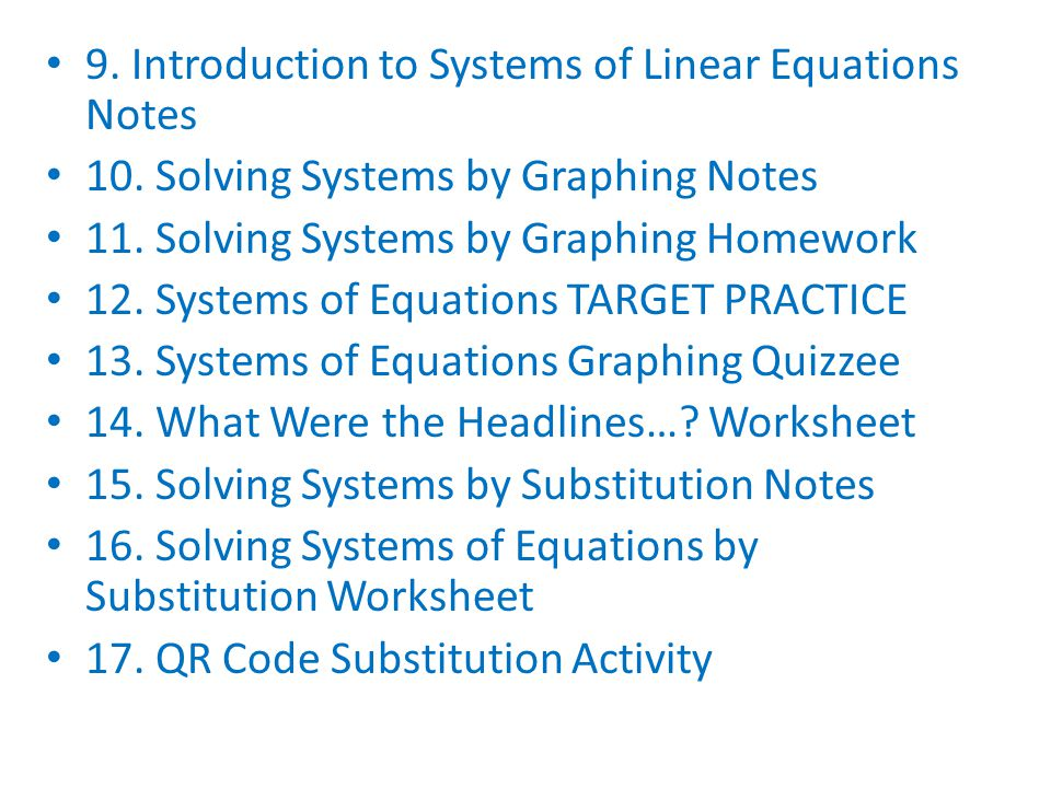 9. Introduction to Systems of Linear Equations Notes