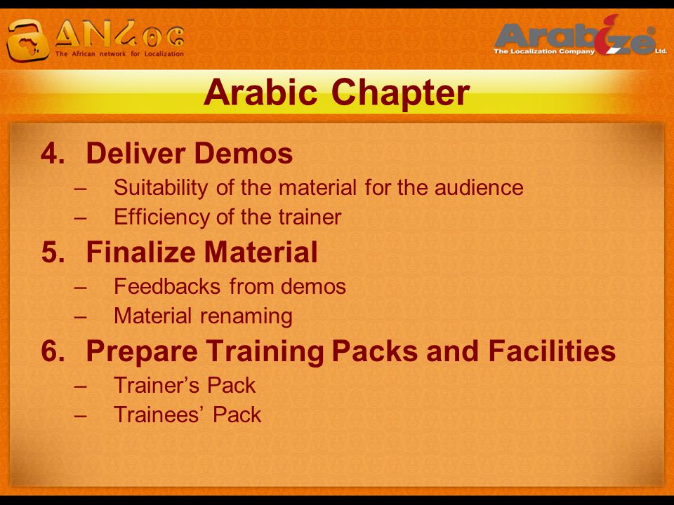 Arabic Chapter Deliver Demos Finalize Material