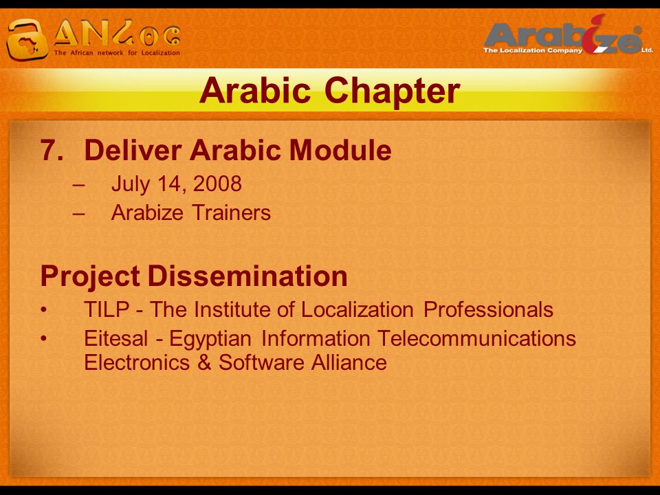 Arabic Chapter Deliver Arabic Module Project Dissemination