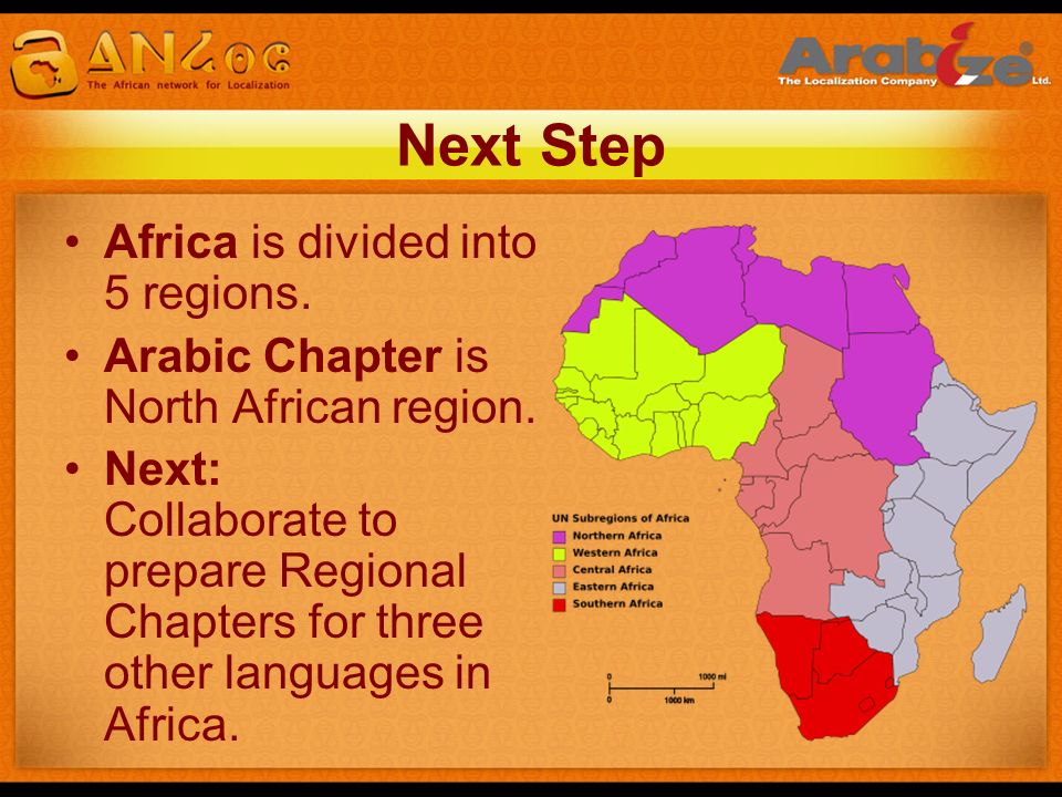 Next Step Africa is divided into 5 regions.