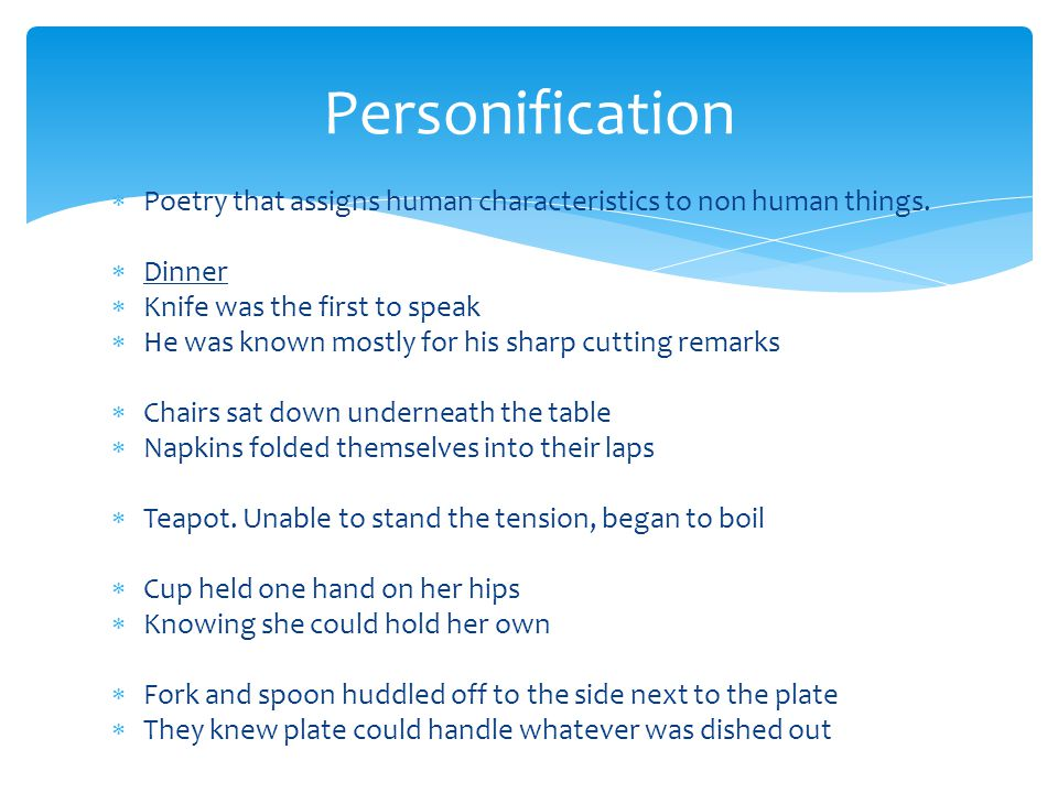 personification in the book speak