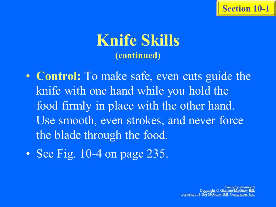 Knife Skills (continued)