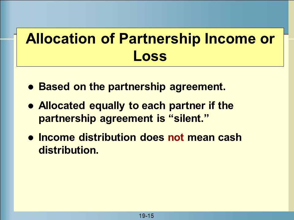 Allocation of Partnership Income or Loss
