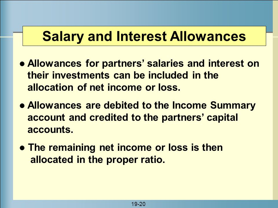 Salary and Interest Allowances