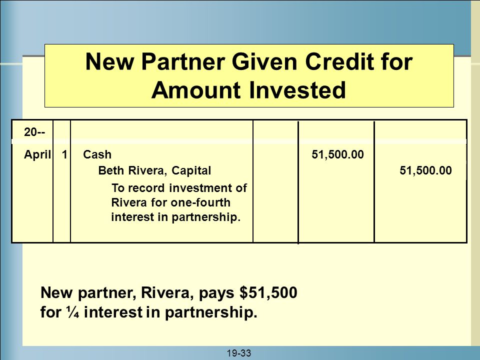 New Partner Given Credit for Amount Invested