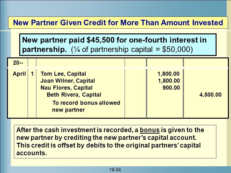 New Partner Given Credit for More Than Amount Invested