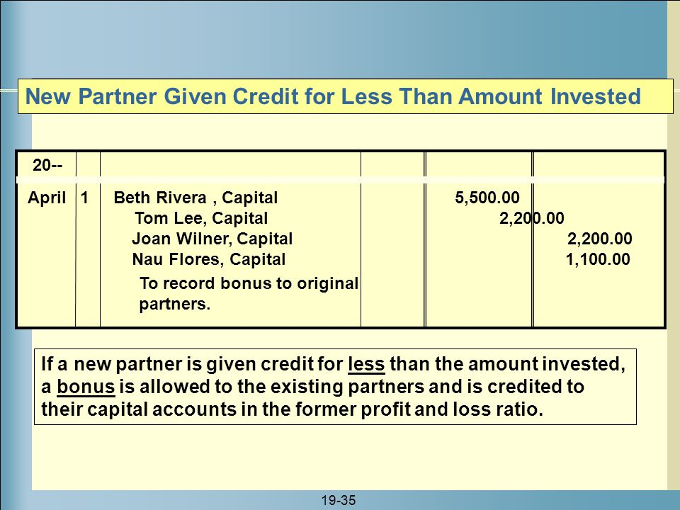 New Partner Given Credit for Less Than Amount Invested
