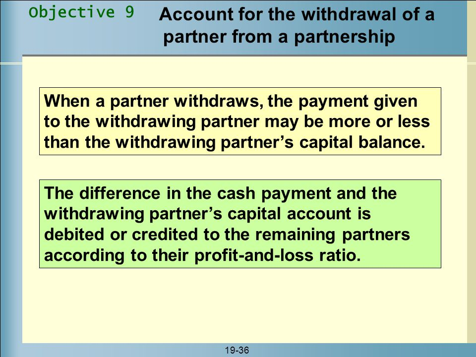Account for the withdrawal of a partner from a partnership
