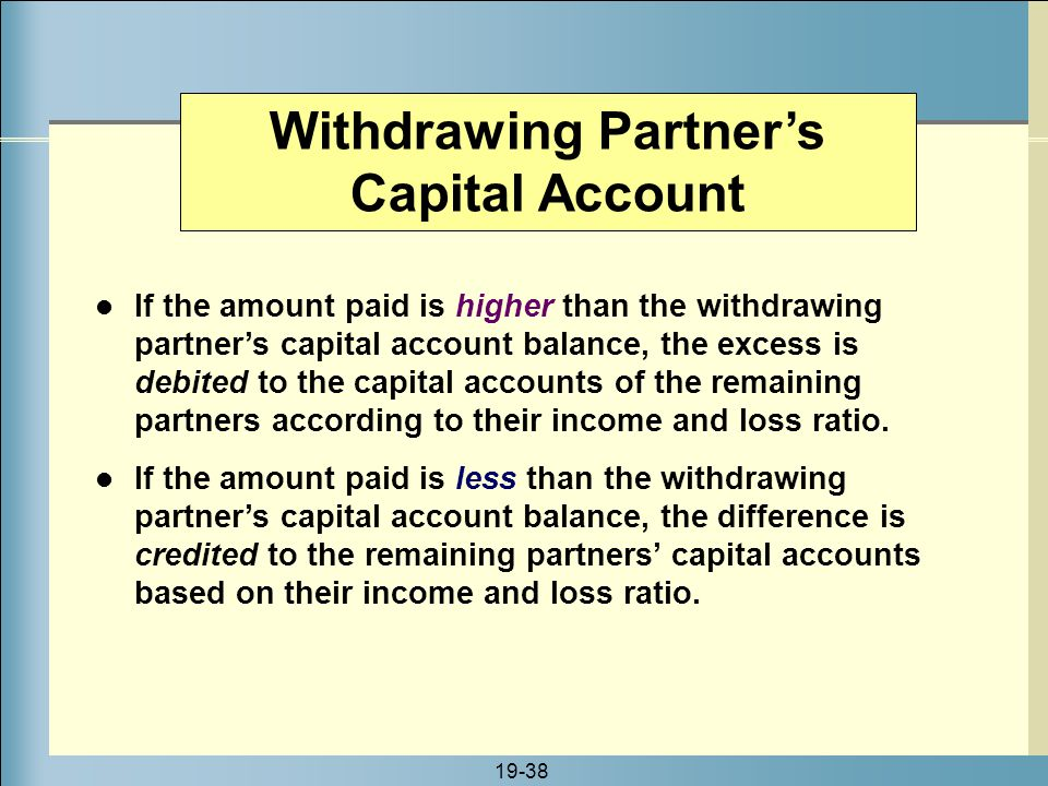 Withdrawing Partner's Capital Account