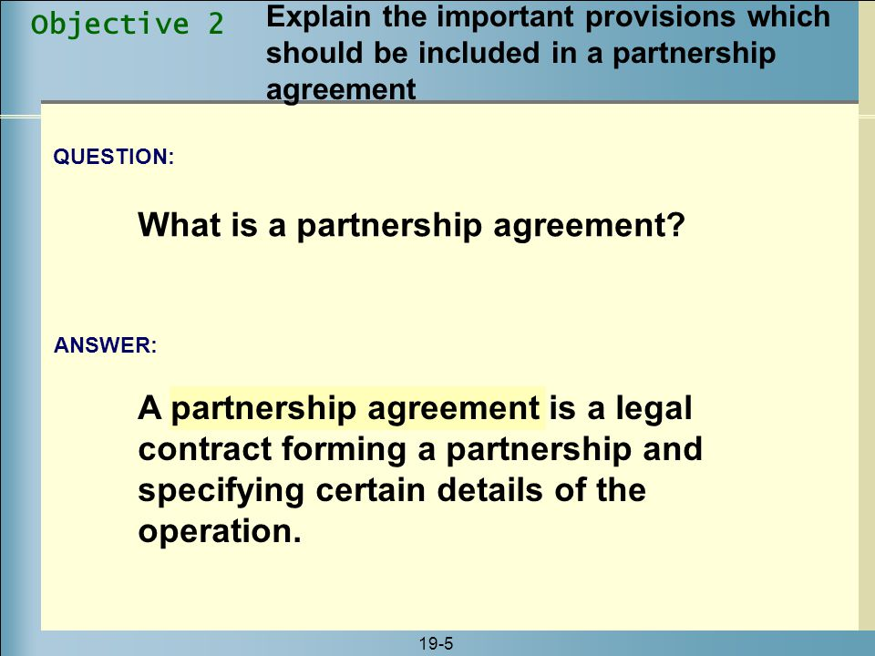 What is a partnership agreement