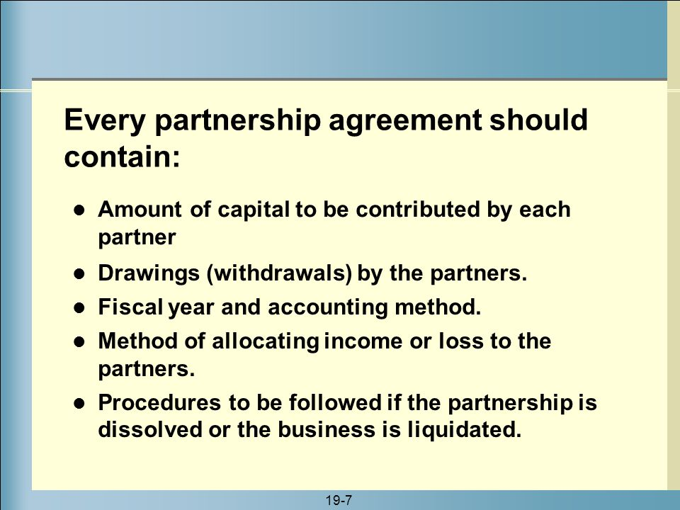 Every partnership agreement should contain:
