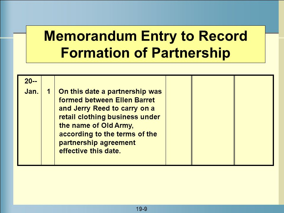 Memorandum Entry to Record Formation of Partnership