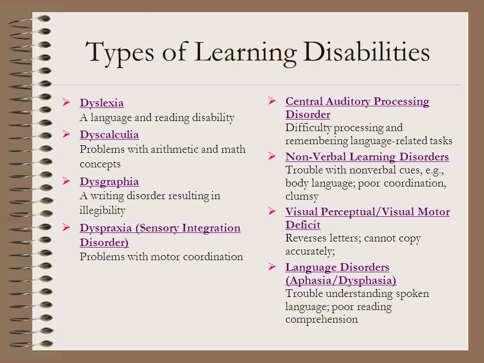 Types Of Learning Disabilities >> Learning Disabilities Ppt Download