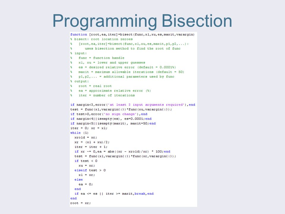 Programming Bisection