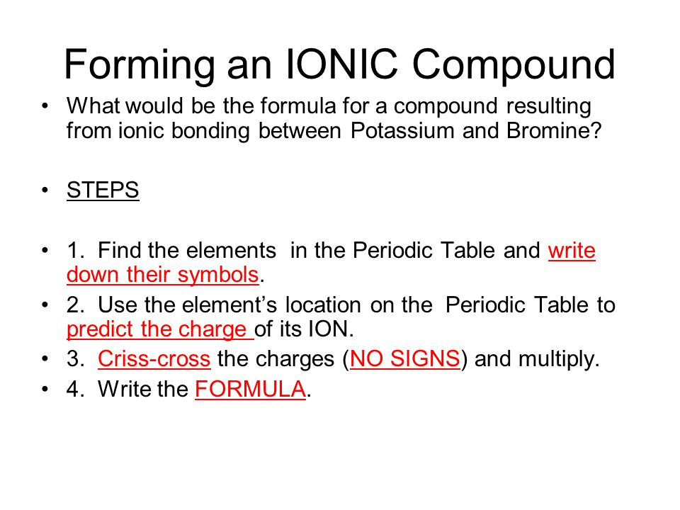 Forming an IONIC Compound