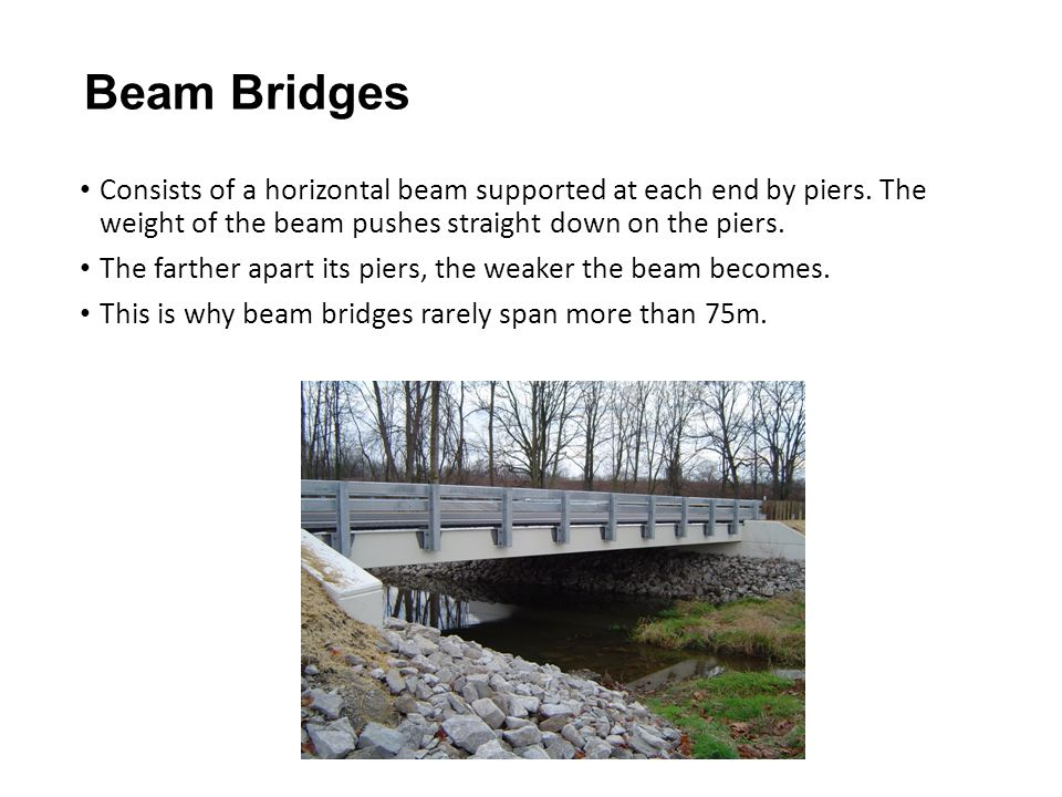 Beam Bridges Consists of a horizontal beam supported at each end by piers. The weight of the beam pushes straight down on the piers.