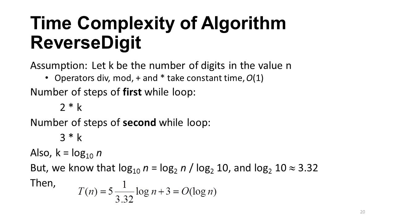 Time Complexity of Algorithm ReverseDigit