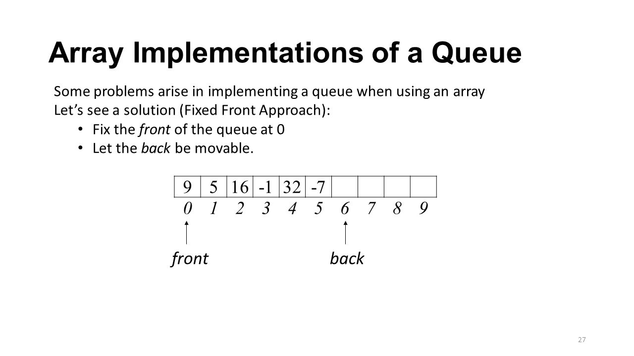 Array Implementations of a Queue