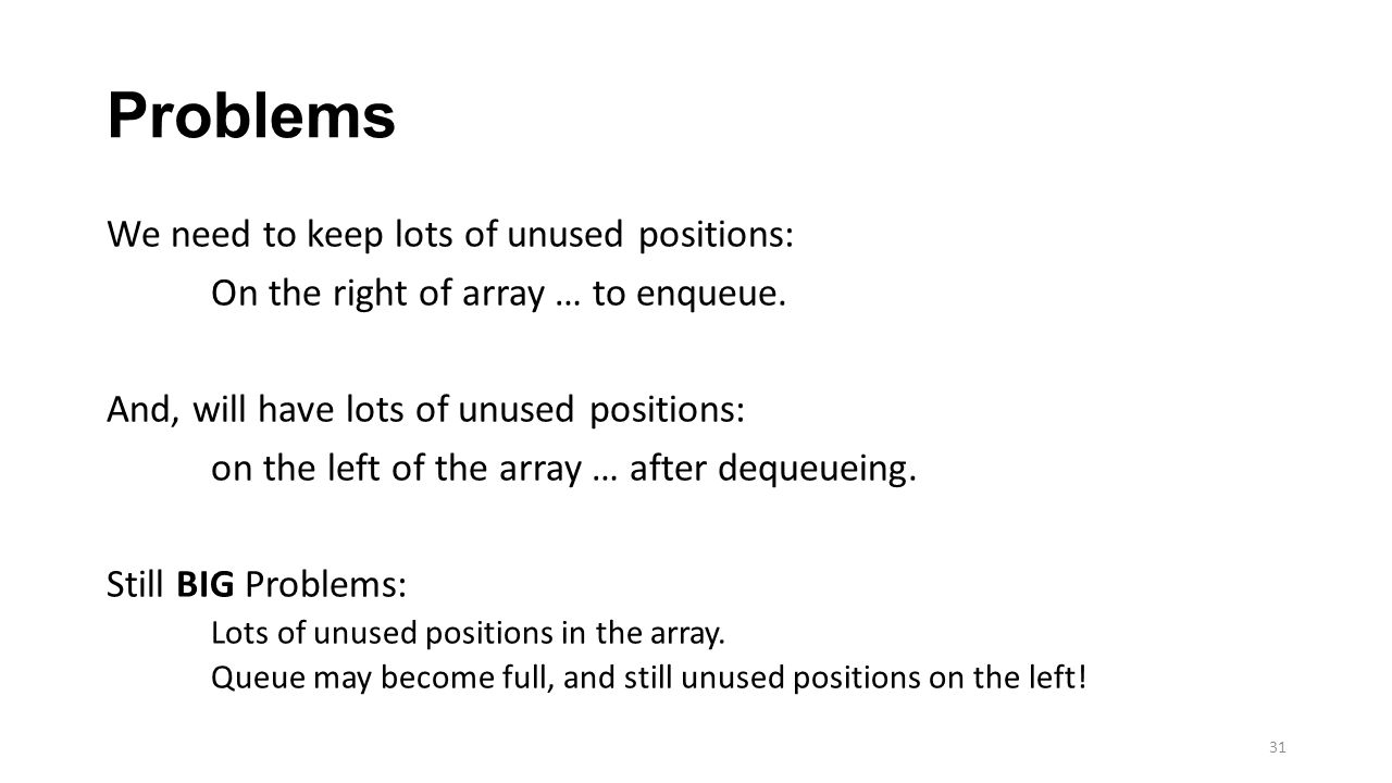 Problems We need to keep lots of unused positions: