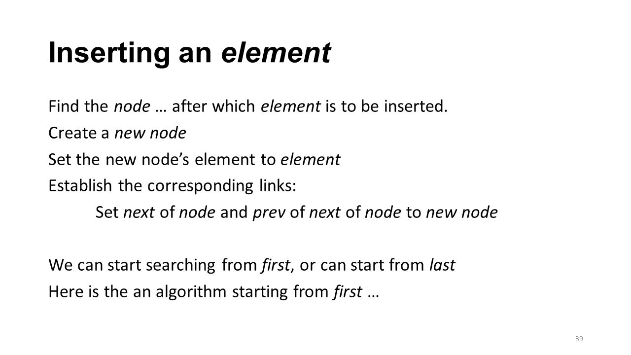 Inserting an element