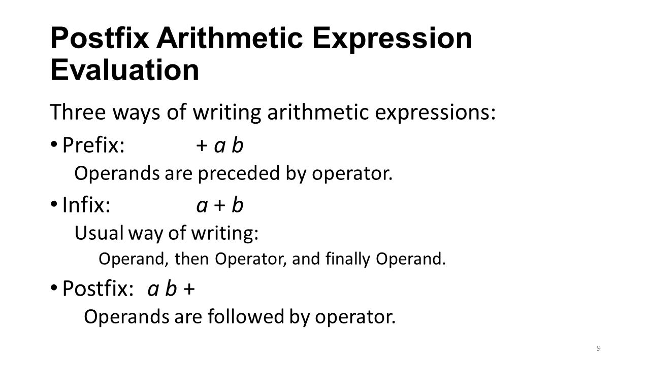 Postfix Arithmetic Expression Evaluation