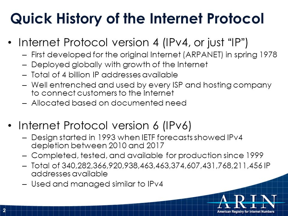 Quick History of the Internet Protocol