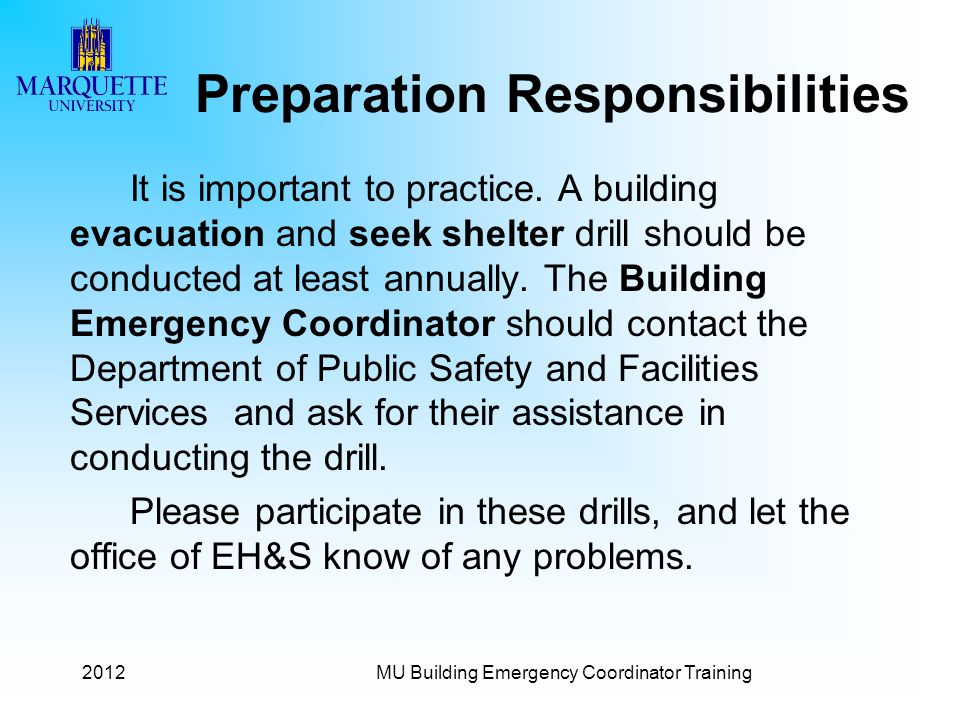 Emergency coordinator responsibilities