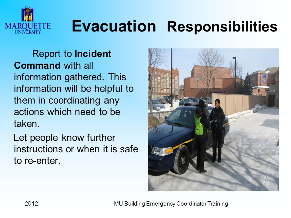 Evacuation Responsibilities