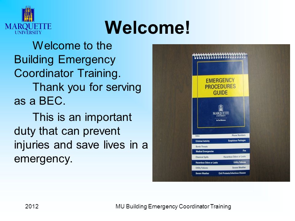 MU Building Emergency Coordinator Training