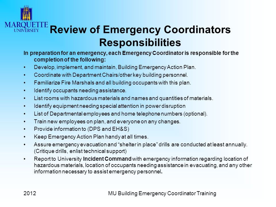 Review of Emergency Coordinators Responsibilities