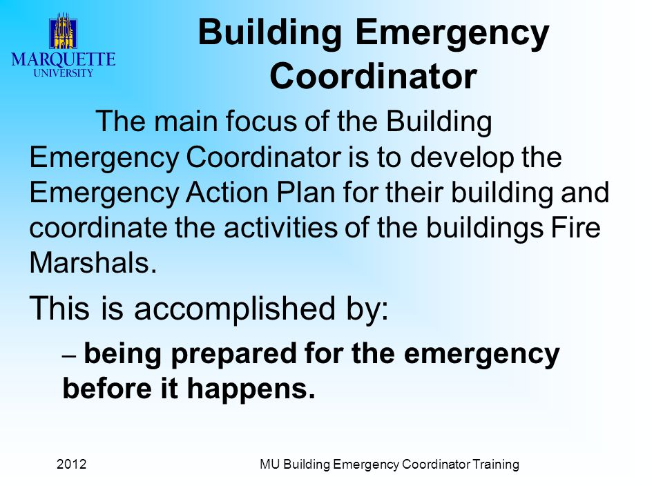 Building Emergency Coordinator