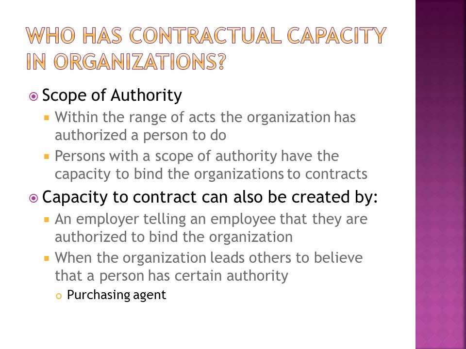 Who has contractual capacity in organizations