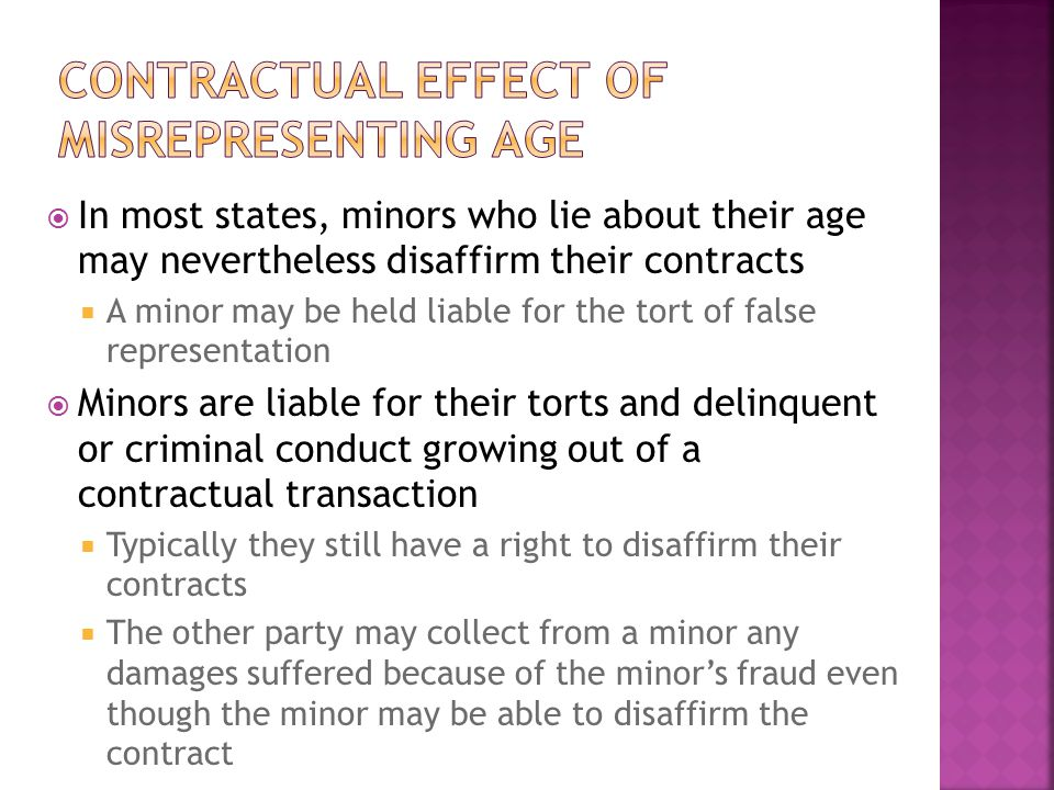 Contractual effect of misrepresenting age