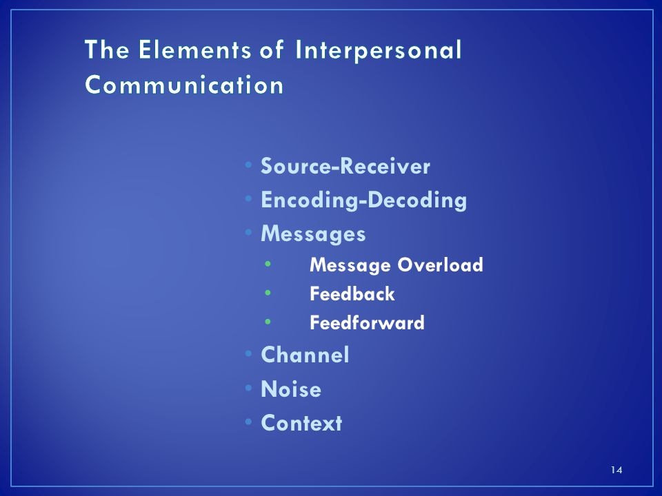 elements of interpersonal communication study guide Interpersonal communication plays a large role in any manager's daily activities, but especially in organizations that use teams cliffsnotes study guides are written by real teachers and professors, so no matter what you're studying, cliffsnotes can ease your homework headaches and help you.
