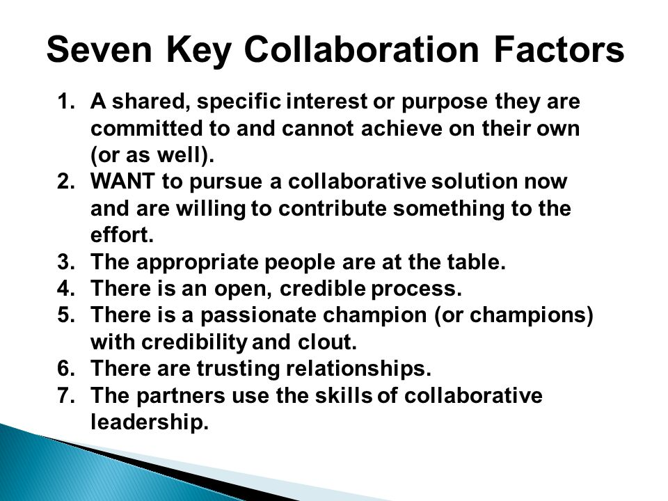 Seven Key Collaboration Factors