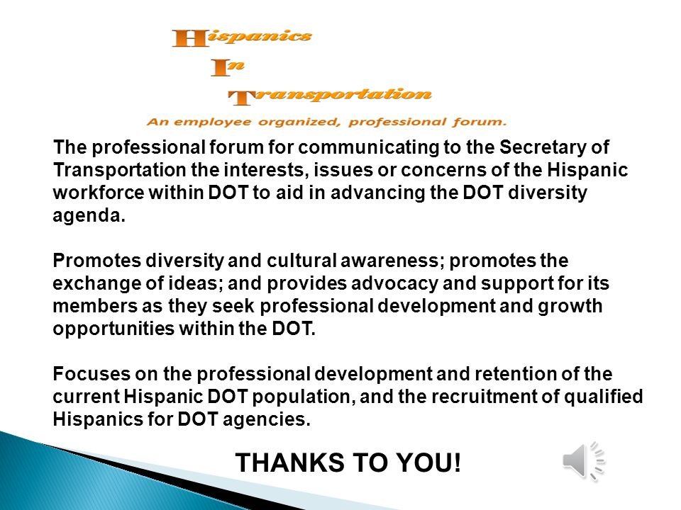 The professional forum for communicating to the Secretary of Transportation the interests, issues or concerns of the Hispanic workforce within DOT to aid in advancing the DOT diversity agenda.