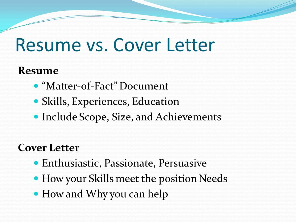 Resume Vs. Cover Letter Resume Matter Of Fact Document