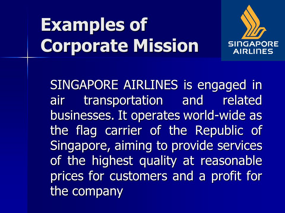 singapore airlines mission statement
