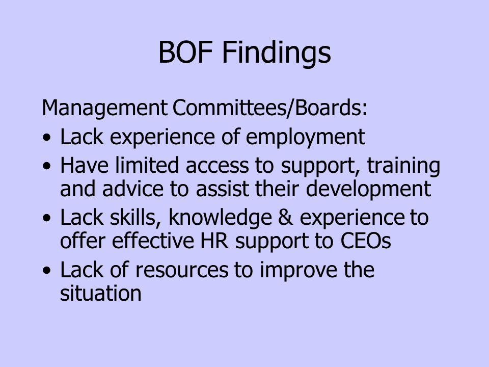 BOF Findings Management Committees/Boards: