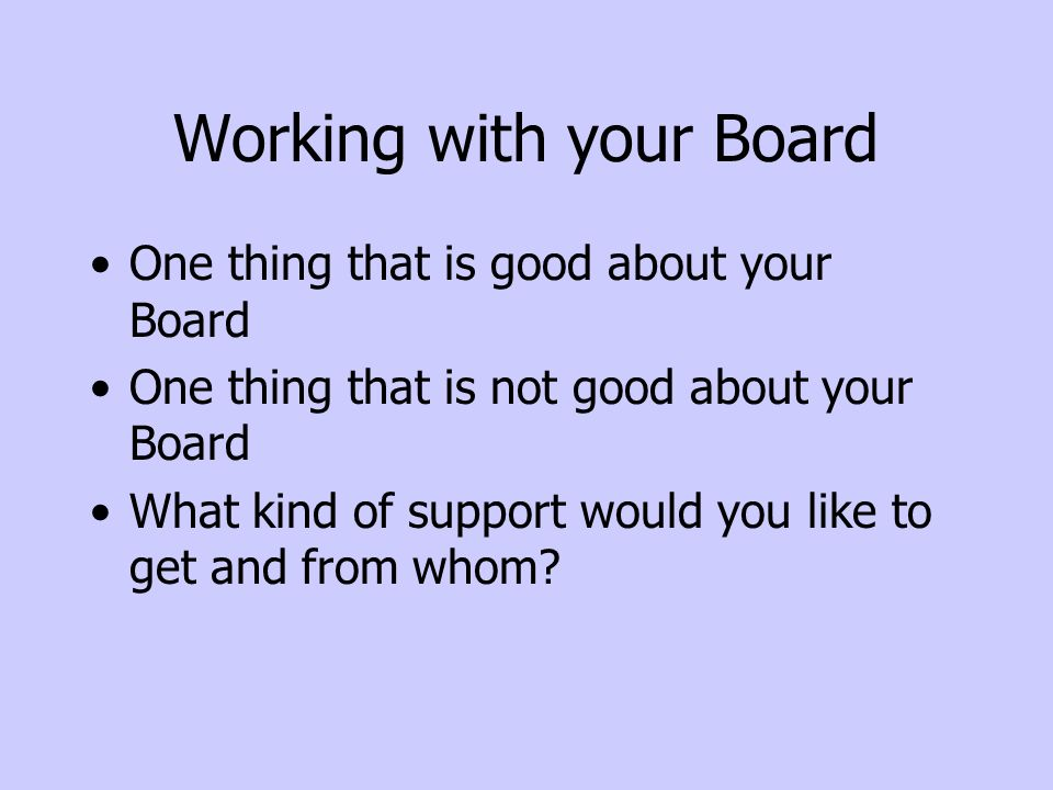 Working with your Board